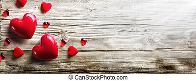 Red Hearts In love On Vintage Wooden Plank