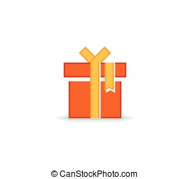 Gift box with ribbon - Flat icon of gift box with ribbon and...
