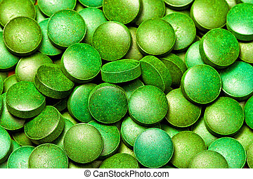 Green pills - Bunch of natural organic green algae pills
