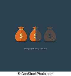 Financial investment plan, budget management, money deficiency, expenses vector