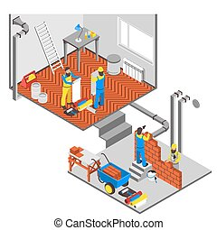 Interior Repairs Composition - Interior repairs isometric...