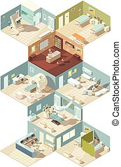 Hospital Indoors Isometric Design Concept - Hospital indoors...