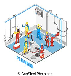 Plumber Isometric People Composition