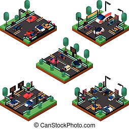 Futuristic Vehicles Isometric Concept
