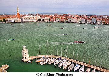 Sailboat marina at San Giorgio Maggiore Island in Venice, Italy