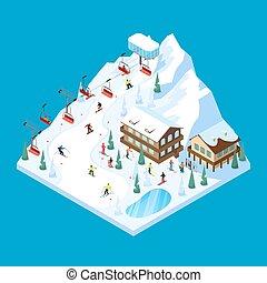 Skiing Mountain Isometric Landscape