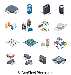 Semiconductor Components Icon Set - Isolated semiconductor...