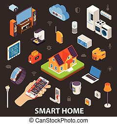 Smart Home Electronic Devices Isometric Poster
