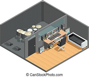 Drums Recording Studio Interior - Music studio isometric...