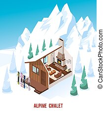 Isometric Chalet With Fireplace In Mountains - Alpine chalet...