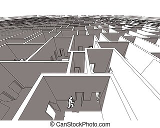 labyrinth - Lonely man  in endless cubical labyrinth
