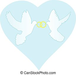 doves with rings - vector doves with rings