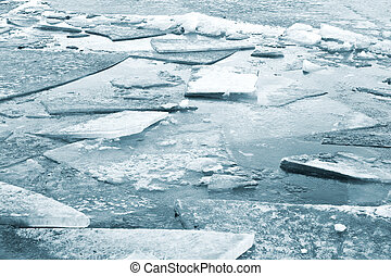Ice Fragments - Fragments of ice on the surface of the...