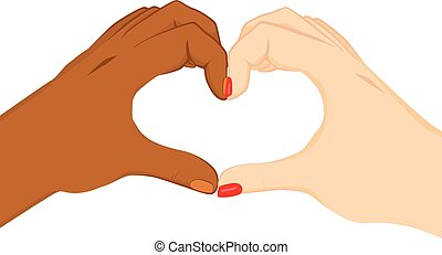 Interracial Heart Hands - Black and white hands making heart...