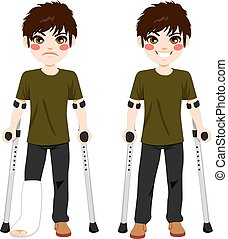 Teenager Boy crutches - Boy with sad expression and broken...