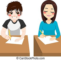 Teenager Cheating Exam - Two young teenager people on exam...