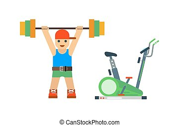 Fitness gym sport people vector icon. - Fitness gym club...