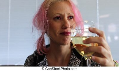 Drunk woman with wine - Slow motion of a smiling caucasian...