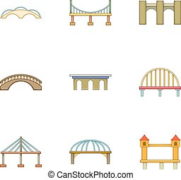 Urban construction icons set, cartoon style - Urban...