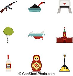 Russian traditional elements icons set, flat style - Russian...