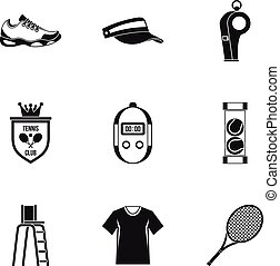 Big tennis icons set, simple style - Big tennis icons set....