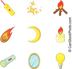 Sources of light icons set, cartoon style