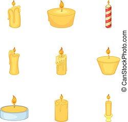 Burning candles icons set, cartoon style - Burning candles...