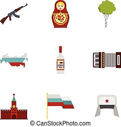 Travel to Russia icons set, flat style - Travel to Russia...