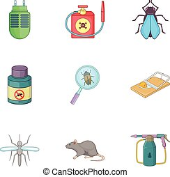 Home pest control service icons set, cartoon style - Home...