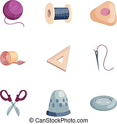 Sewing tools icons set, cartoon style
