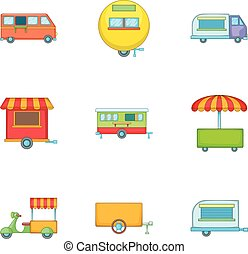 Street food icons set, cartoon style