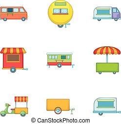 Street food icons set, cartoon style