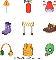 Roadworks icons set, cartoon style - Roadworks icons set....