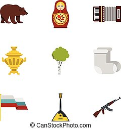 Russia country symbols icons set, flat style - Russia...