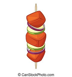 Barbecue kebab on a skewer icon, cartoon style - Barbecue...