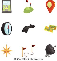 Map, navigation icons set, cartoon style - Map, navigation...