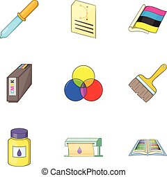 Print industry icons set, cartoon style - Print industry...