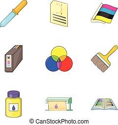 Print industry icons set, cartoon style
