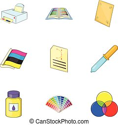 Palette and printer icons set, cartoon style - Palette and...