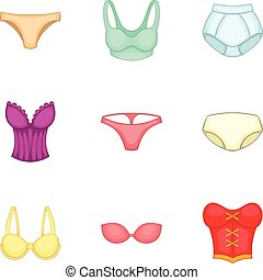 Lingerie elements icons set, cartoon style - Lingerie...
