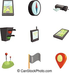 Navigation icons set, cartoon style - Navigation icons set....