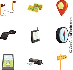 Cartography and geography tools icons set. Cartoon...