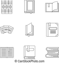 Education book icons set, outline style - Education book...