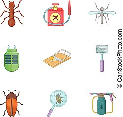 Harassment of insects icons set, cartoon style - Harassment...
