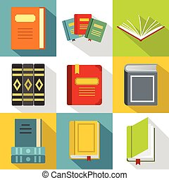Education book icons set, flat style - Education book icons...