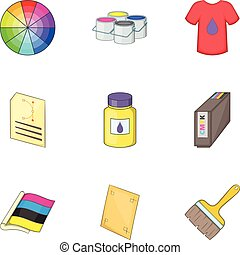 Printing office icons set, cartoon style - Printing office...