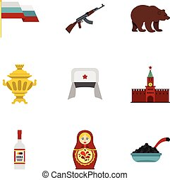 Russia icons set, flat style - Russia icons set. Flat...