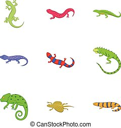 Different kind of lizards icons set, cartoon style -...