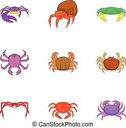 Crab sea animals icons set, cartoon style