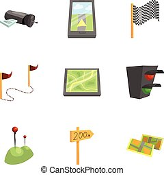 GPS and navigation icons set, cartoon style - GPS and...